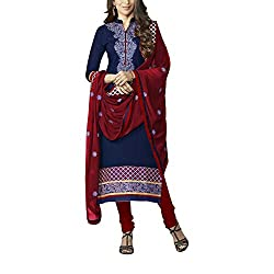 Destiny Enterprise Embroidered Cotton Unstitched Party Wear Blue Color Dress Material for Women