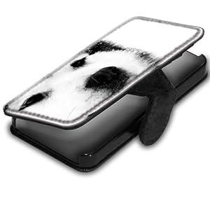Chiens 10006, Husky, Original Etui Personnalisé Coque Housse Coquille Case en Cuir Noir avec Dessin Coloré pour Apple iPhone 4 4S.
