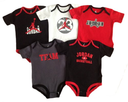 Nike Jordan Infant New Born Baby Bodysuit Layette Sets 5 PCS and Cell Phone Anti-dust Plug (6-9 MONTHS)