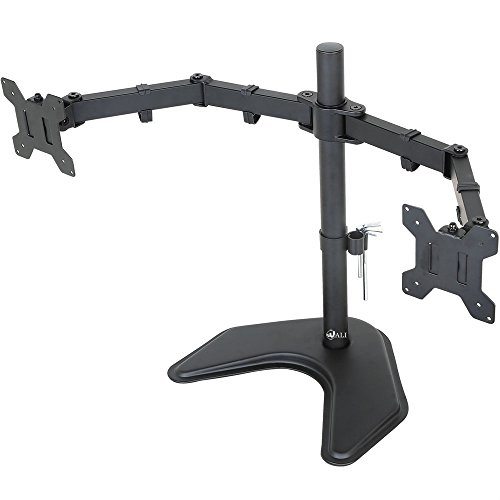 WALI-Dual-LCD-Monitor-Mount-Free-Standing-Fully-Adjustable-Desk-Fits-Two-Screens-up-to-27-Full-Motion-Tilt-Swivel-Rotate-22-lbs-Capacity-With-Optional-Grommet-Base-WL-MF002