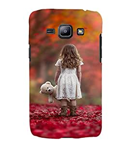 EPICCASE Lonely girl with teddy Mobile Back Case Cover For Samsung Galaxy J1 (Designer Case)