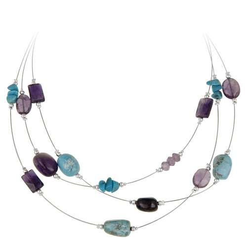 Sterling Silver and Stainless Steel 3-Row Illusion Turquoise and Amethyst Necklace, 16+3