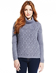 Indigo Collection Raindrop Stitched Jumper with Wool