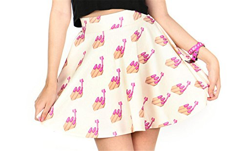 AZIZY-Womens-Digital-Print-Pattern-Stretchy-Pleated-Skater-Tutu-Mini-Skirt