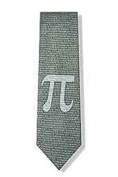 Men\'s Green Microfiber Pi Symbol to the 50th Decimal Mathematics Math Tie Necktie