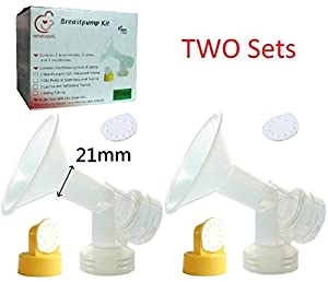 4 One-piece Small 21mm Breastshields, 4 Valves and 8 Membranes for Medela Pump In Style, Lactina, Symphony, and Swing Breastpumps. Can Be Used with Simple Wishes. Can Be Sanitized with Medela Quick Clean Micro-Steam Bag