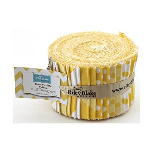 Riley Blake BASICS VARIETY YELLOW Rolie Polie 24 2.5 inch Jelly Roll Strips Quilt Fabric RP-50-24