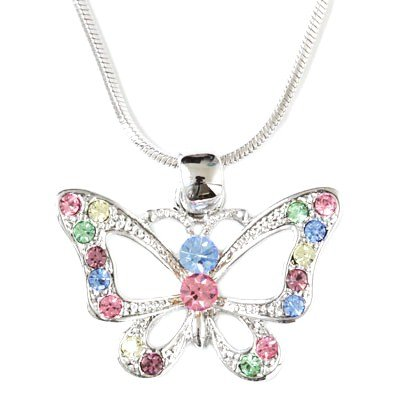 Multicolor Crystal Butterfly Charm Pendant Necklace Fashion Jewelry