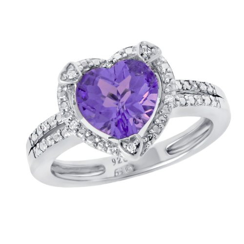 Silver Heart Shape Amethyst with .03 Cttw Diamonds Ring, Size 7