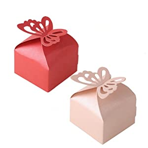 2013newestseller 20pcs Super Lovely Pink Red Sweet Butterfly Design Pearl Paper Wedding Party Favor Gift Candy Boxes