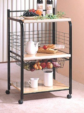 Black Metal Serving Cart with 3 Wood Tier ADS6008-bk