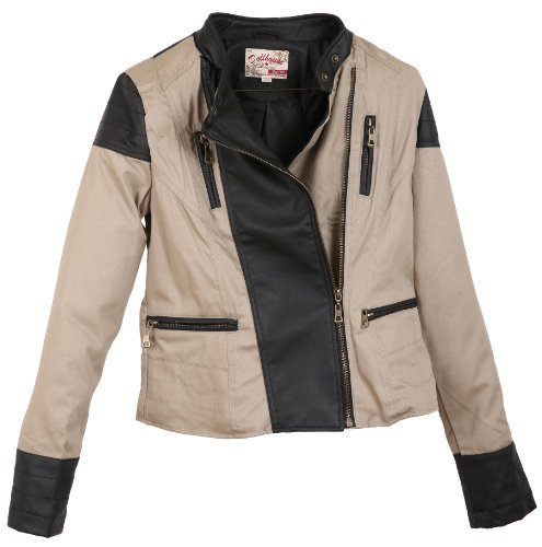 Dollhouse Junior'S Full Zip Leather Trimmed Jacket With Buttoned Mock Neck - Black Khaki (Large)