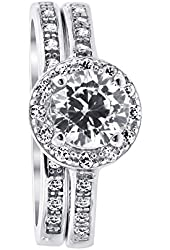 Rhodium Plated Sterling Silver Round Clear Cubic Zirconia Halo Style Wedding Band Engagement Ring Set
