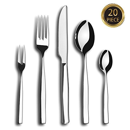 ONSON 20-Piece Flatware Set,Stainless Steel Dinnerware,Steel Mirror Polishing,Multipurpose Use for Kitchen,Hotel or Restaurant,Cutlery Service for 4 (Hotel Dinnerware compare prices)