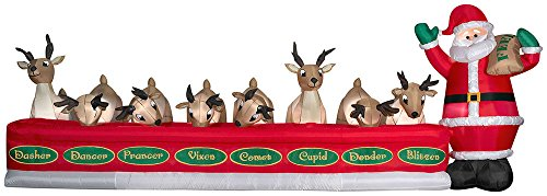 Gemmy Inflatable Santa Feeding Eight Reindeer Scene (Air Blown Inflatables)