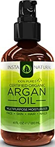 InstaNatural Organic Argan Oil For Hair, Face, Skin & Nails - 100% Pure & EcoCert Certified Organic Argan Oil Multipurpose Moisturizer, 4 Fluid Ounce