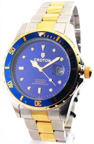 Croton CA301094TTBL Men's Two Tone Blue Dial Automatic Watch