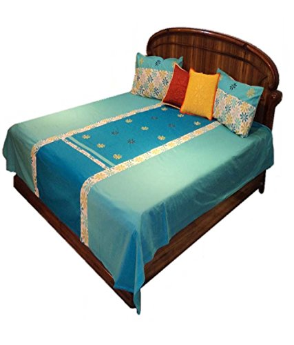 Amita's Home Furnishing Embroided Firozi & Bark Blue Color Cotton Bed Linen
