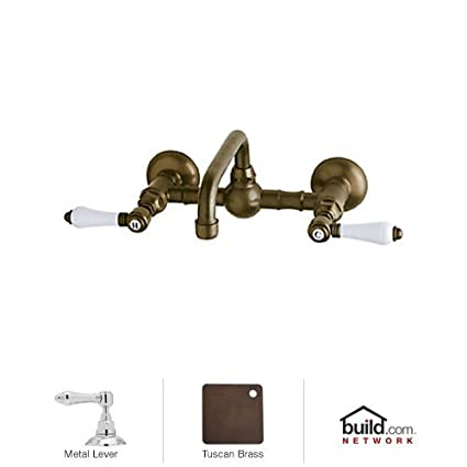 Rohl A1423LMTCB-2 Country Bath Low Lead Wall Mounted Bathroom Faucet with Metal Lever Handles, Tuscan Brass