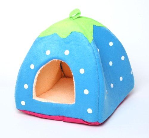 PetStyle ペットハウス いちご型 ハウス ペットベッド 小型犬用ベッド 猫用ベッド ソファ ブルー Lサイズ