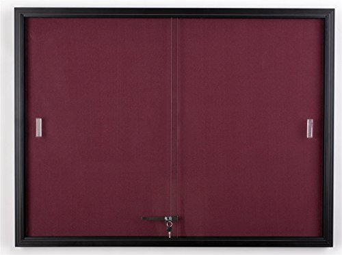 Displays2go 48 x 36 Inches Fabric Tack Board with Locking Sliding Glass Door, 4 x 3 Feet Wall-Mounted Enclosed Bulletin Board - Black Aluminum Frame with Maroon Fabric (FBSD43BKMR) (Glass Door Bulletin Board compare prices)