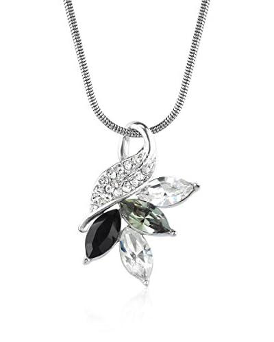 Absolute Crystals Conjunto de cadena y colgante 4 Navette Leaf Grisáceo / Plateado / Negro