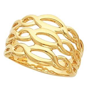 14K White Gold 13.5mm Fashion Band Size: 13