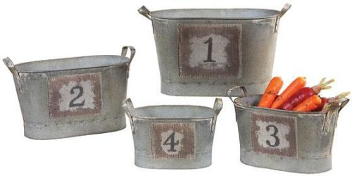 Counting Buckets Set Of 4, 13.5X6.5, Silver