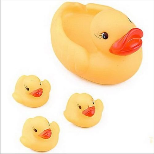 2-SET-4pcs-Lovely-Funny-Baby-Bath-Bathing-Toy-Rubber-Race-Foat-Squeaky-Ducks-Yellow