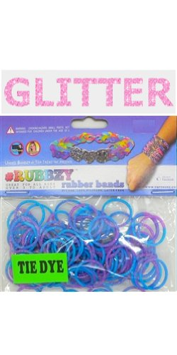 Rubbzy 100 pc Special Edition Tie Dye/Glitter Rubber Bands w/ 4 Connectors (#104) - 1