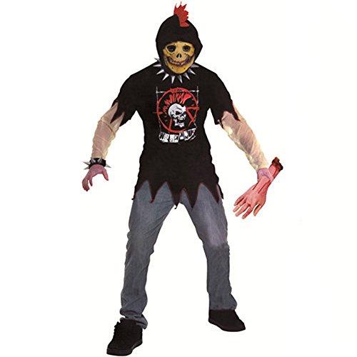 [LETSQK Adult Zombie Soul Taker Devil Phantom Skeleton Ghost Party Halloween Costume F] (3d Skeleton Zombie Costumes)