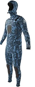 Buy Body Glove Mens Free Dive Slant Zip 5 4 3mm Hooded Full Body Wetsuit, XX-Large, Blue Camo by Body Glove