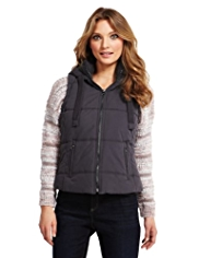 Indigo Collection Cotton Rich Hooded Knitted Collar Gilet
