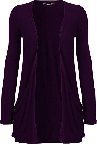 WearAll - Ladies Long Sleeve Pocket Cardigan Womens Top - Purple - 12 / 14
