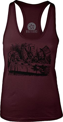 Big Texas Alice in Wonderland - Mad Hatter's Tea Party (Black) Womens Racerback Tank-Top T-Shirt
