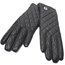 MICHAEL Michael Kors Quilted Leather Circle Charm Gloves - Size XL