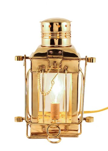 "Electric Oil Lamps -Brass Cargo Lamp 10"" - Electric Hurricane Lantern"