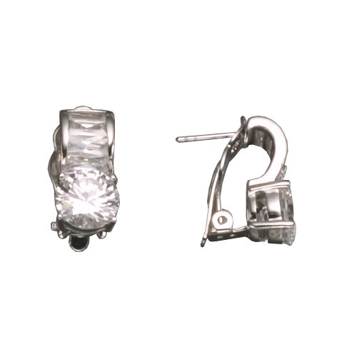 C.Z. BAGUETTE STONE RHODIUM PLATED (.925) STERLING SILVER EARRINGS (Nice Holiday Gift, Special Black Firday Sale)