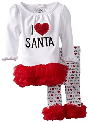 "Baby Girls ""I Love Santa"" Tunic and Leggings Set from Mud Pie"