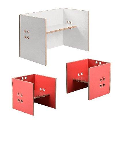 Kindersitzgruppe – Kindermöbel – 2 Kinderstühle + 1 Kindertisch / Bank (Stühle / Hocker rot, Tisch / Bank weiß)