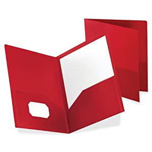 Oxford Poly Twin Pocket Folder, 25 Box, Letter, Red  57411