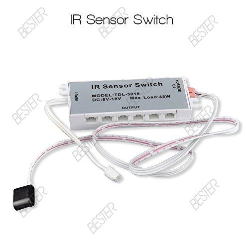 Sensky Bs025 2-Pack Dc12V Inductive Ir Sensor Switch Infrared Motion Sensor Module For Led Strip Sensor Products Body Motion Sensor For Auto On/Off Led Strip/Lamp/Lights Connectors