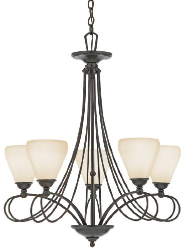 Quoizel DK5005TM Denmark 5-Light Chandelier with Cream Frosted Cirrus Glass, Taco Marrone