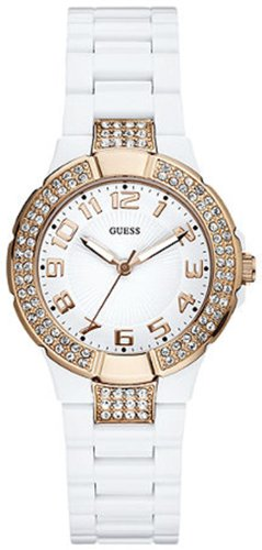 Guess U11661L1 status in the round white plastic rose gold tone women watch New