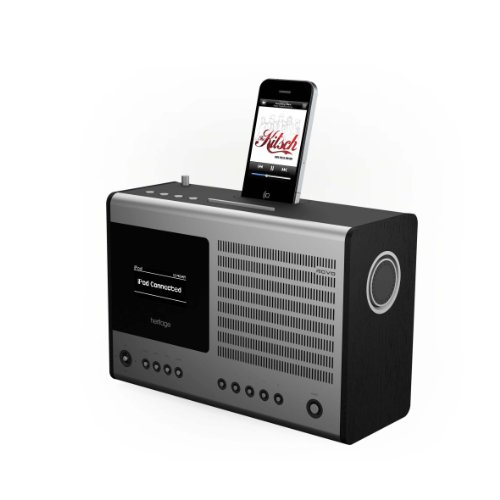 REVO Heritage Multi-format Table Clock Radio with iPod Dock - Black