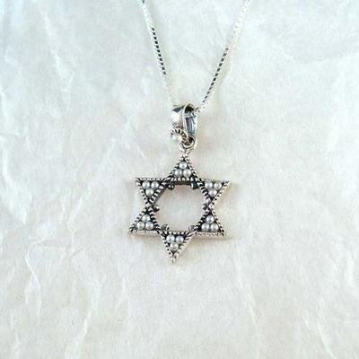 Sterling Silver & Faux Pearl Star of David Necklace, 20″