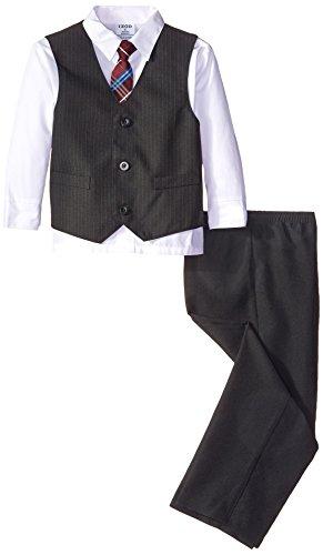 IZOD Little Boys' Plain Stripe Vest Set, White, 06 Regular