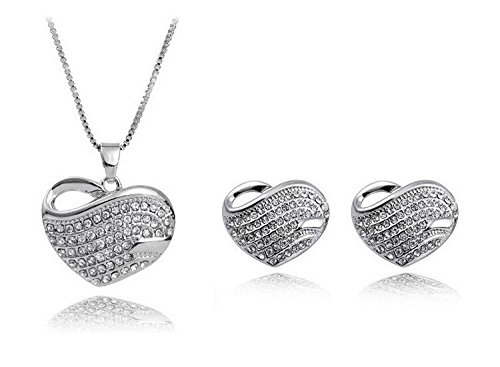 Crunchy-Fashion-silver-heart-Rhodium-Plated-pendant-set-for-Girls