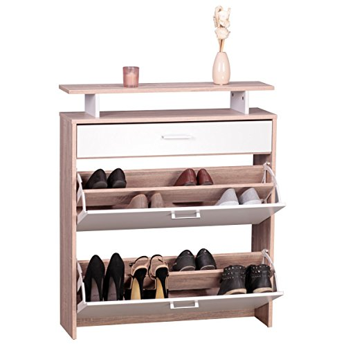 FineBuy-Schuhschrank-MDF-Sonoma-Eiche-80-cm-breit-Schuhregal-Design-Schuh-Kommode-modern-Sideboard-stylisch-Schuhablage-schmal-Flurmbel-platzsparend-rechteckig-Schuhkipper-zweifarbig-geschlossen