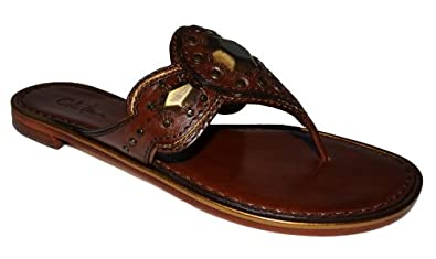 Cole Haan Jules Women's Leather Metal Ornamentation Flat Thong Sandal Shoe (6...